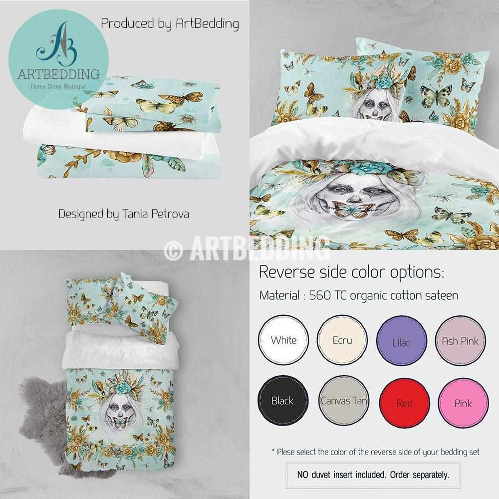 Skull girl art illustration bohemian bedding set, Boho watercolor mint green and gold duvet bedding set, skull art bedding, Watercolor skull girl & butterflies duvet cover set, bohemian bedroom decor, artbedding art Bedding set