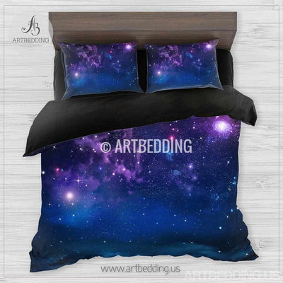 Sky bedding, Night sky Bedding set, Deep blue and purple night sky with stars Duvet cover set, Clouds bedding Bedding set