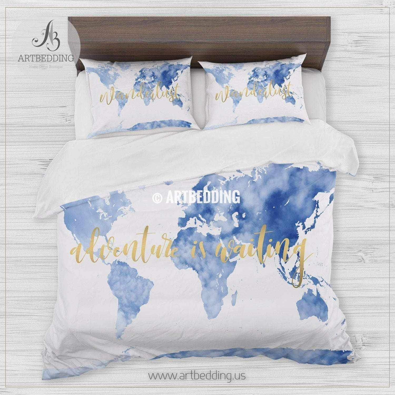 World Map Bedding Sky blue Adventure watercolor world map bedding, Bohemian
