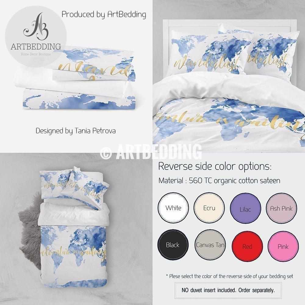 Sky blue Adventure watercolor world map bedding, Bohemian wanderlust world map duvet cover set, Modern adventure world map comforter set Bedding set