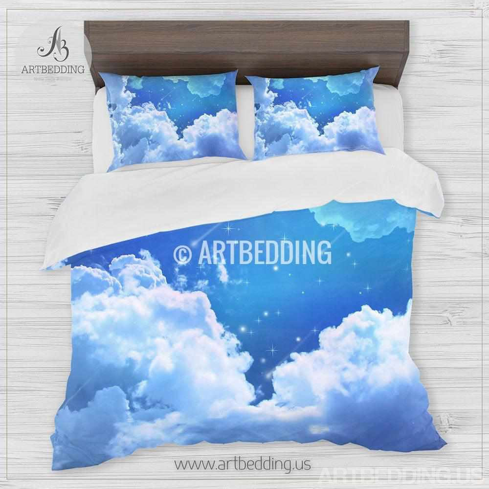 ... Sky Blue Clouds Bedding, Blue Skies With Stars Bedding Set, White  Clouds On A ...