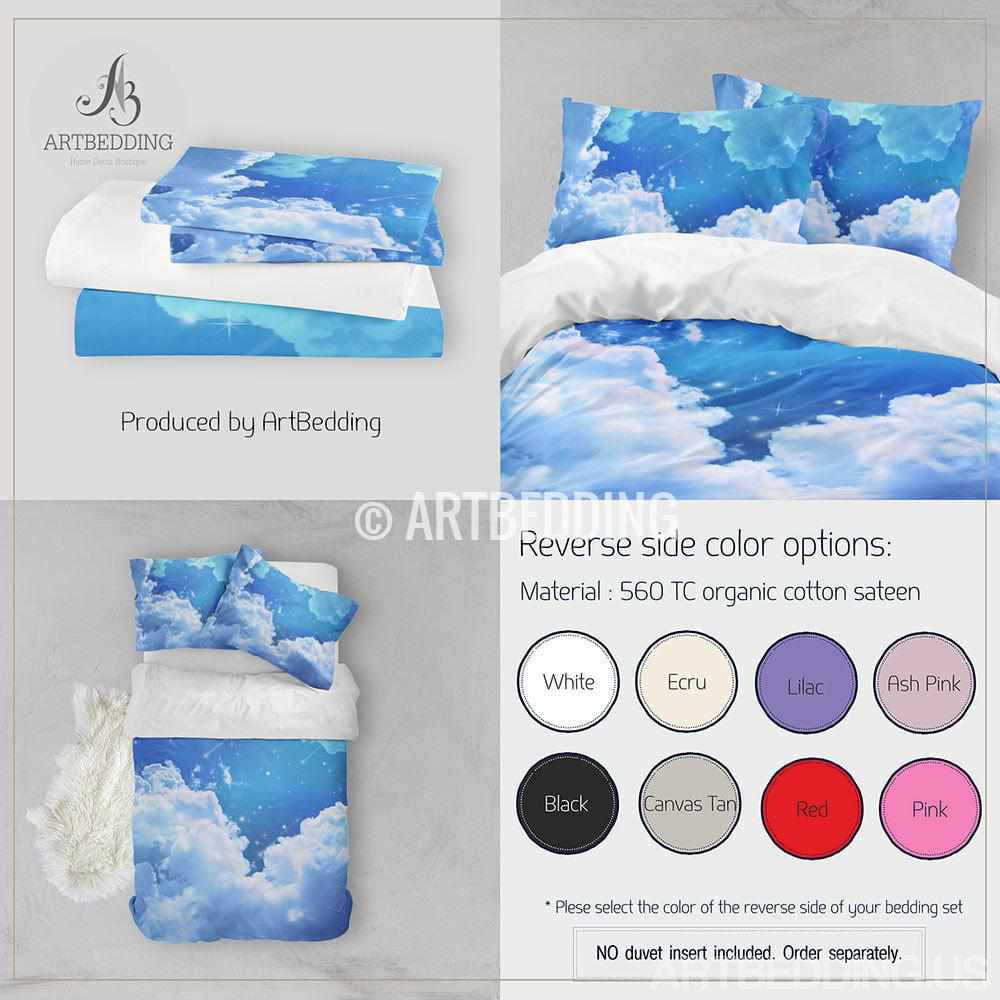 Sky blue clouds bedding, Blue skies with stars Bedding set, White clouds on a blue sky Duvet cover set, Queen / King / Full / TWIN stars Galaxy Duvet Cover, Cotton sateen bedding set, Skies bedding Bedding set