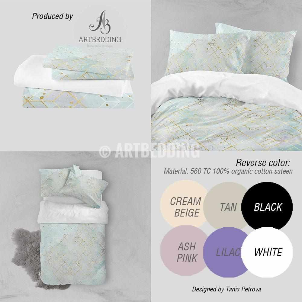 Sky Blue watercolor gold geometry Duvet cover, Delicate sky blue watercolor texture with gold foil splashes and geometry pattern duvet cover, artbedding duvet cover