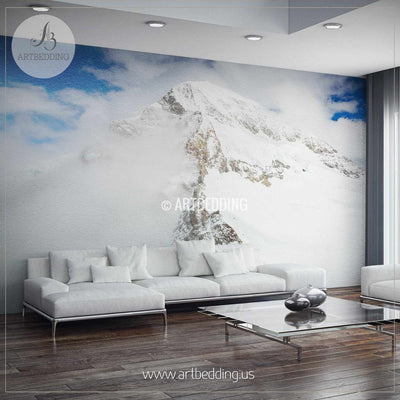 Snow Mountain Wall Mural, Self Adhesive Peel & Stick Photo Mural, Forest wall mural, Photo mural home decor wall mural