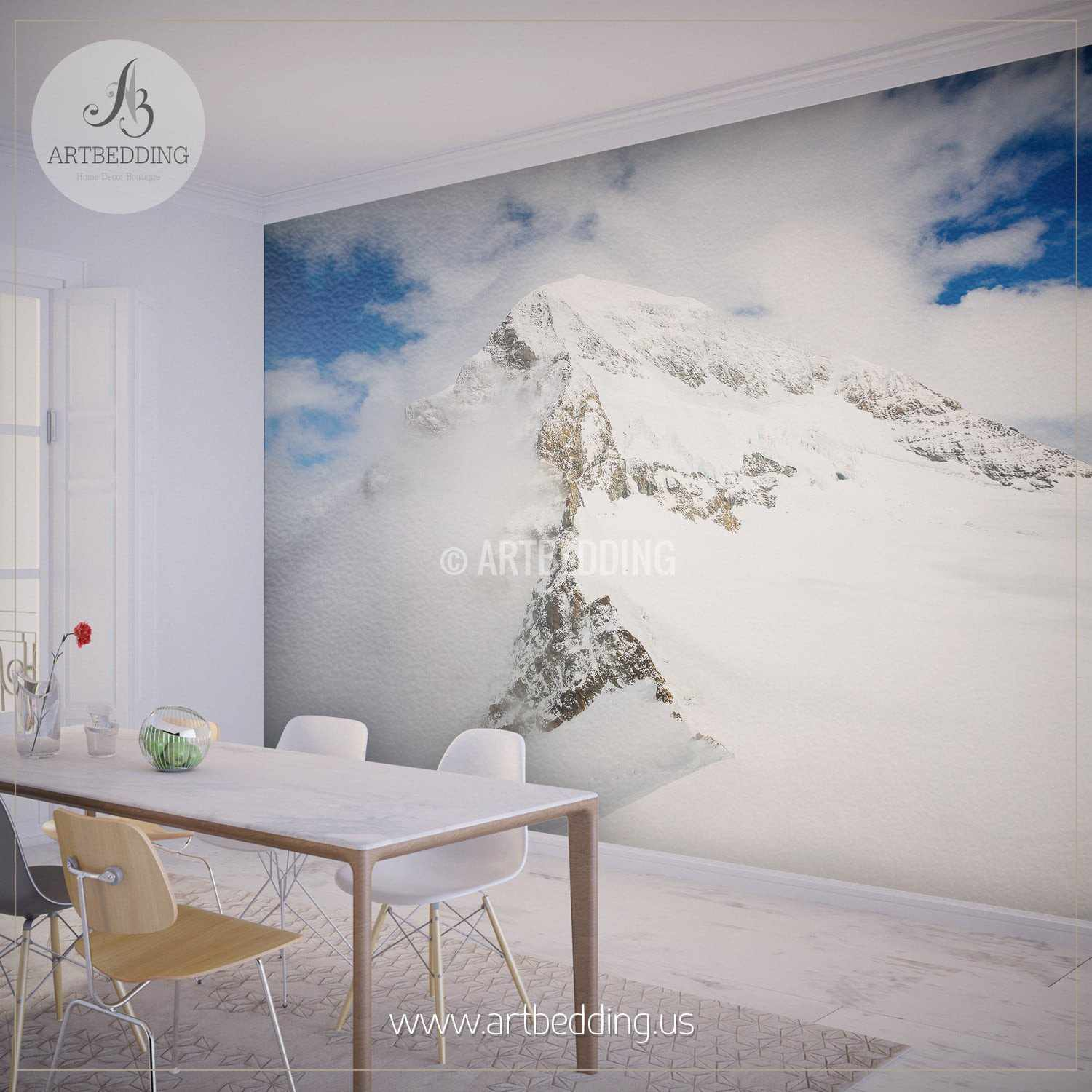 ... Snow Mountain Wall Mural, Self Adhesive Peel U0026 Stick Photo Mural,  Forest Wall Mural ... Part 81