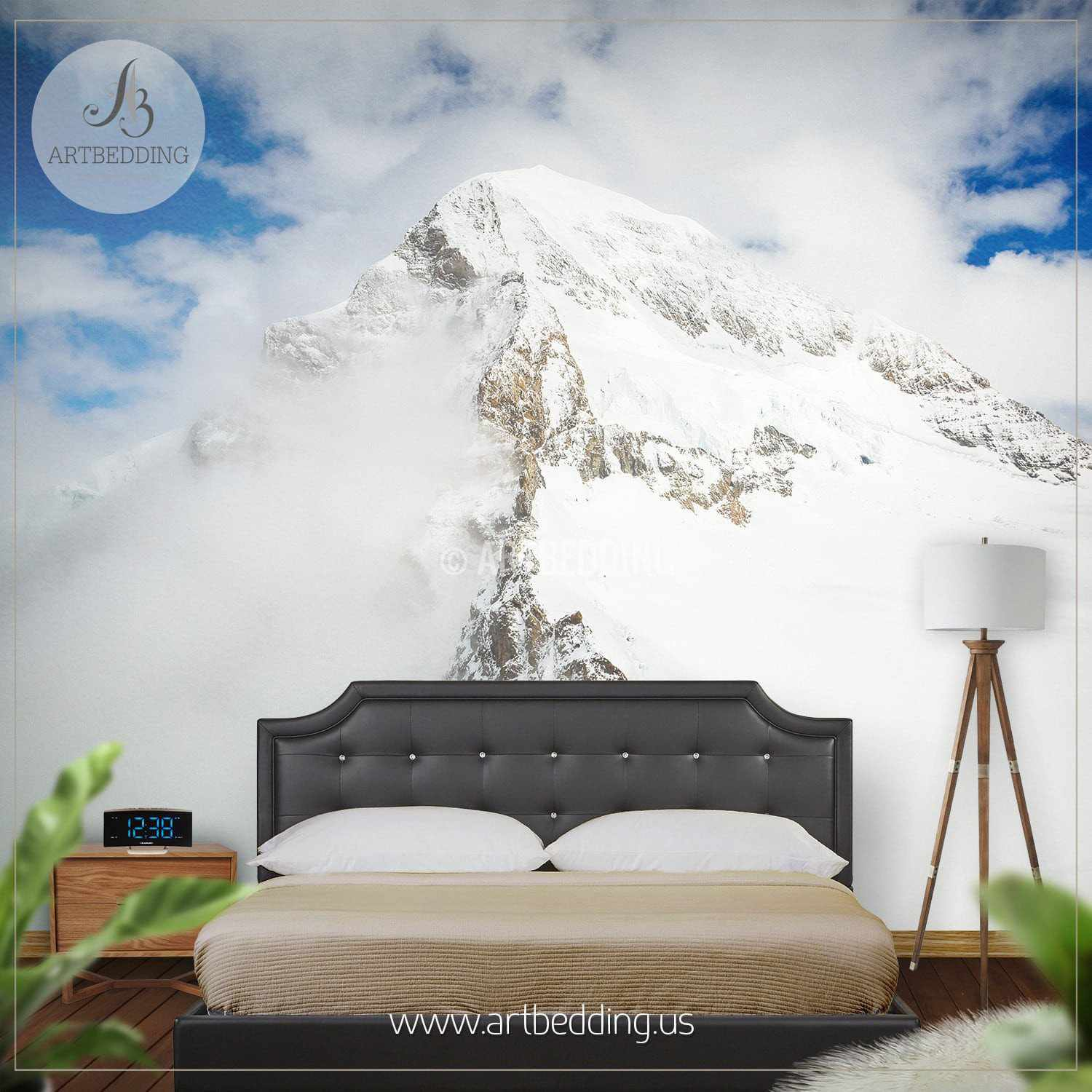 ... Snow Mountain Wall Mural, Self Adhesive Peel U0026 Stick Photo Mural,  Forest Wall Mural ...