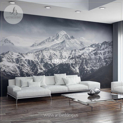Snow Mountain with Blue Sky from Leh Ladakh India Self Adhesive Peel & Stick, Nature wall mural wall mural