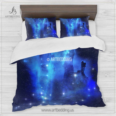 Space bedding set, Blue Eagle Nebula duvet cover set, Stars in deep space Bedding set, Space bedroom decor Bedding set