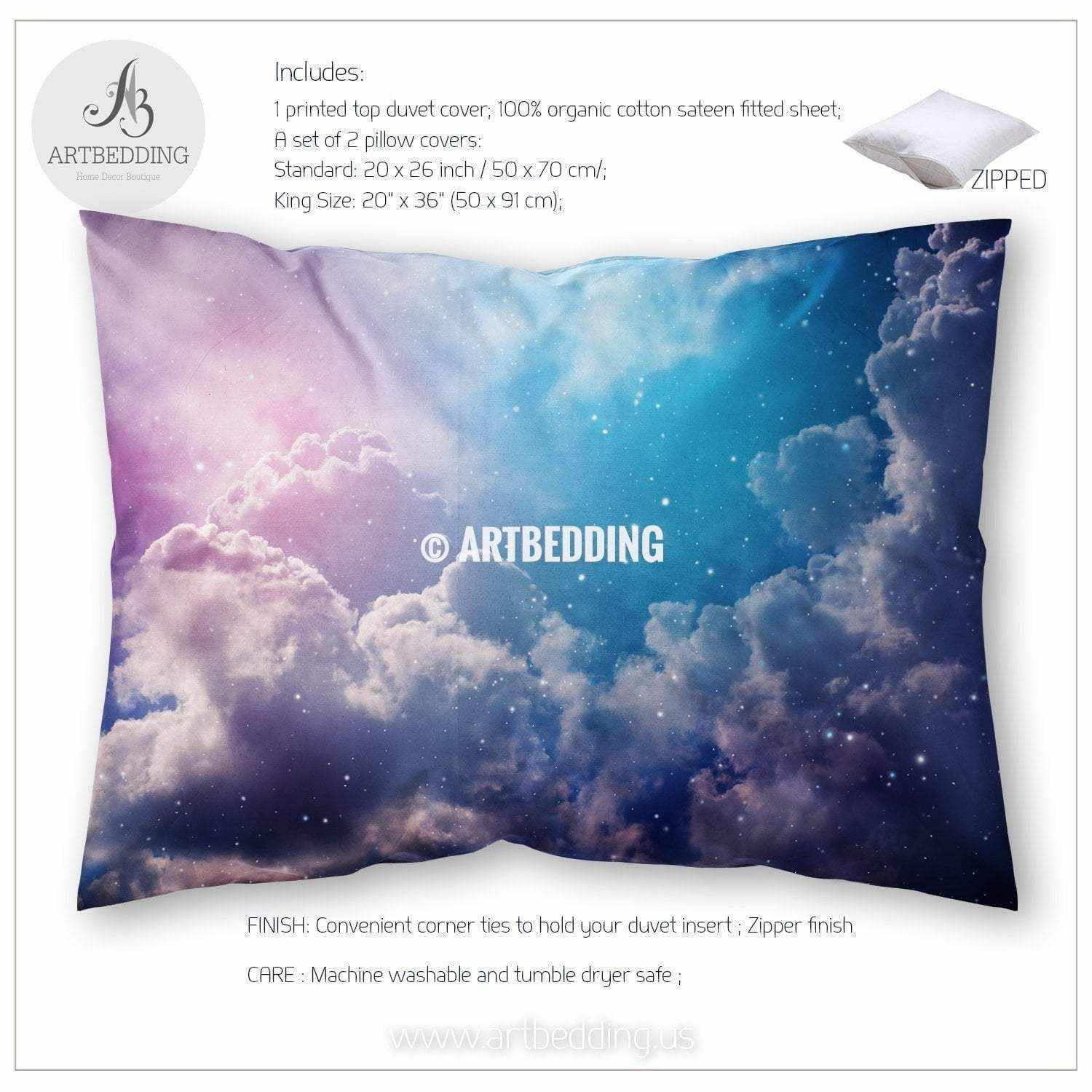 Space Of Night Sky With Cloud And Stars Bedding Queen