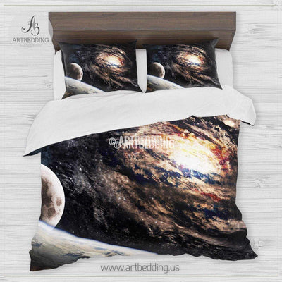 Spiral galaxy bedding set, deep space spiral galaxy formation with Earth and moon in foreground duvet bedding set, Space moon bedroom decor Bedding set