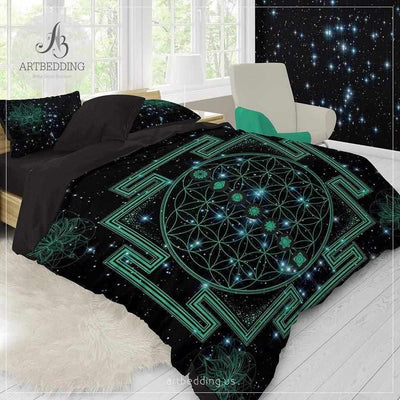 Spiritual galaxy yoga bedding, Sacred yantra amulet Flower of Life duvet cover set, Lotus galaxy spiritual bedspread Bedding set