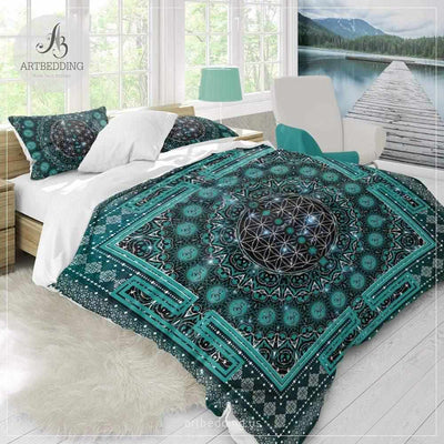 Spiritual yoga bedding, Sacred yantra amulet Flower of Life duvet cover set, Elephant spirit seed of life comforter set, spiritual bedspread Bedding set