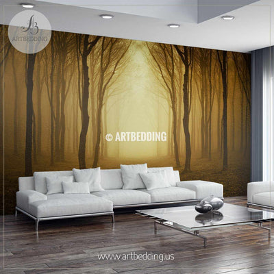 Spooky path through the Woods Wall Mural, Self Adhesive Peel & Stick wall mural wall mural