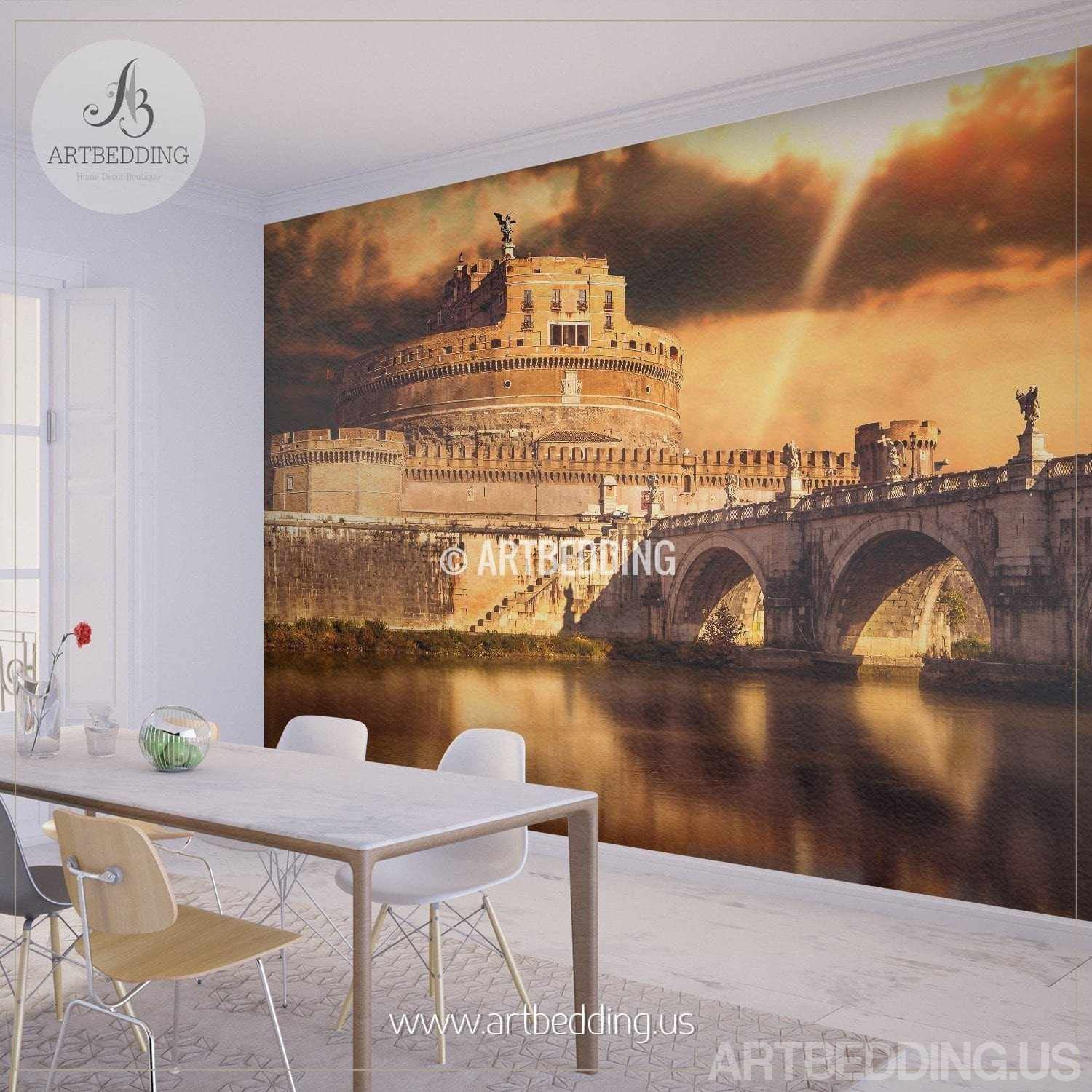 St Angel Castle Wall Mural Rome Castle Vintage Photo Mural