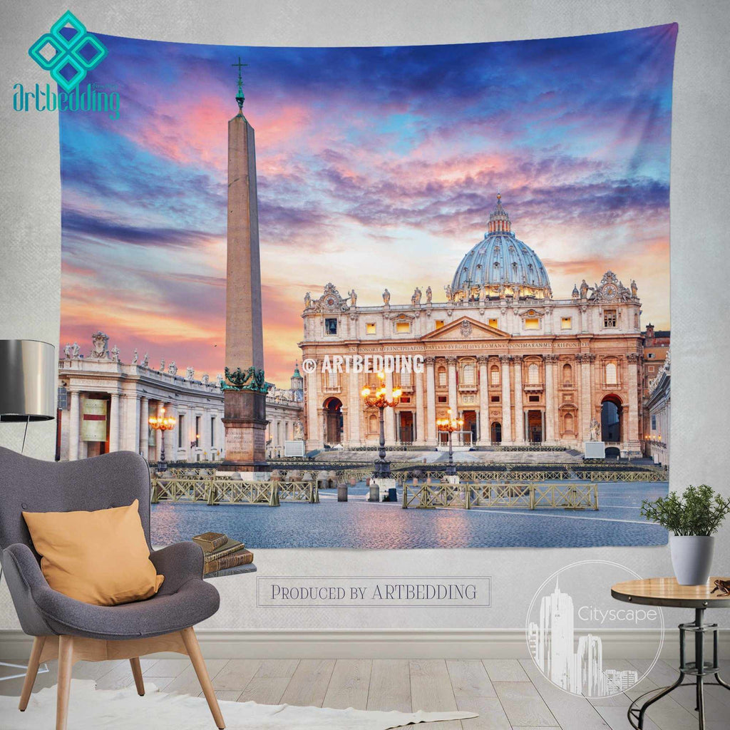 St. Peter Basillica in Rome wall tapestry, Rome at dusk wall tapestry, Rome landmark wall decor