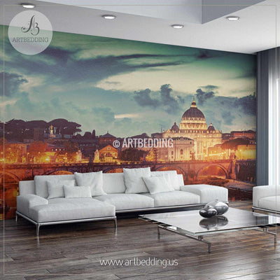 St. Peter's Basilica in Vatican City and Ponte Sant'Angelo bridge over Tiber river in Rome Cityscape Wall Mural, Italy Photo sticker, Italy wall decor wall mural