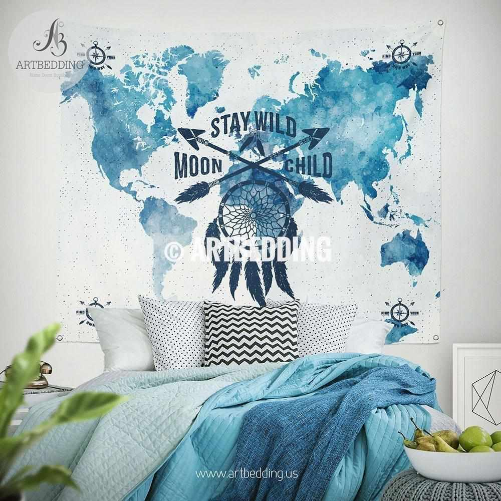 Stay wild moon child world map wall Tapestry, Watercolor dreamcatcher and arrows wall hanging, Grunge bohemian wall tapestries, boho wall decor Tapestry