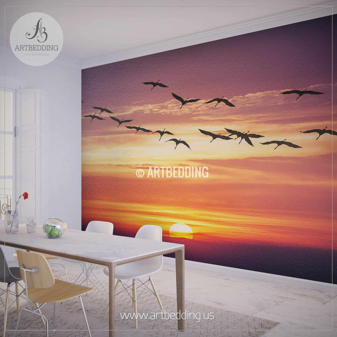 Storks flying towards Sunset Wall Mural, Self Adhesive Peel & Stick Photo Mural, Nature photo mural home decor wall mural