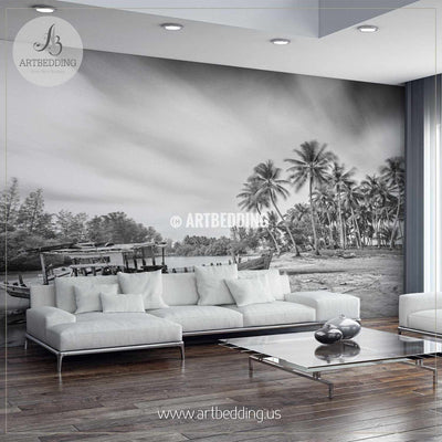 Stranded Boat in Black and White Self Adhesive Peel & Stick, Nature wall mural wall mural