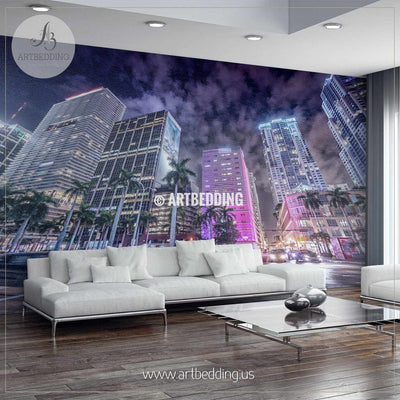 Streets and Buildings of Downtown Miami at night Wall Mural, Landmarks Photo Mural, photo mural wall décor wall mural