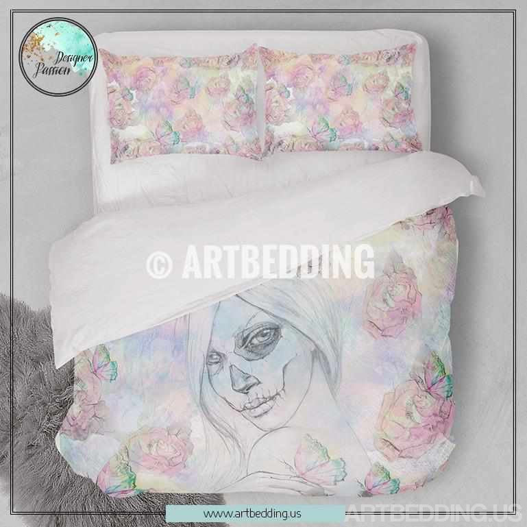 Sugar skull girl & roses duvet bedding set, Bohemian bedding, Watercolor sugar skull girl & butterflies duvet cover set, Bohochic bedding, bohemian bedroom decor, artbedding art Bedding set