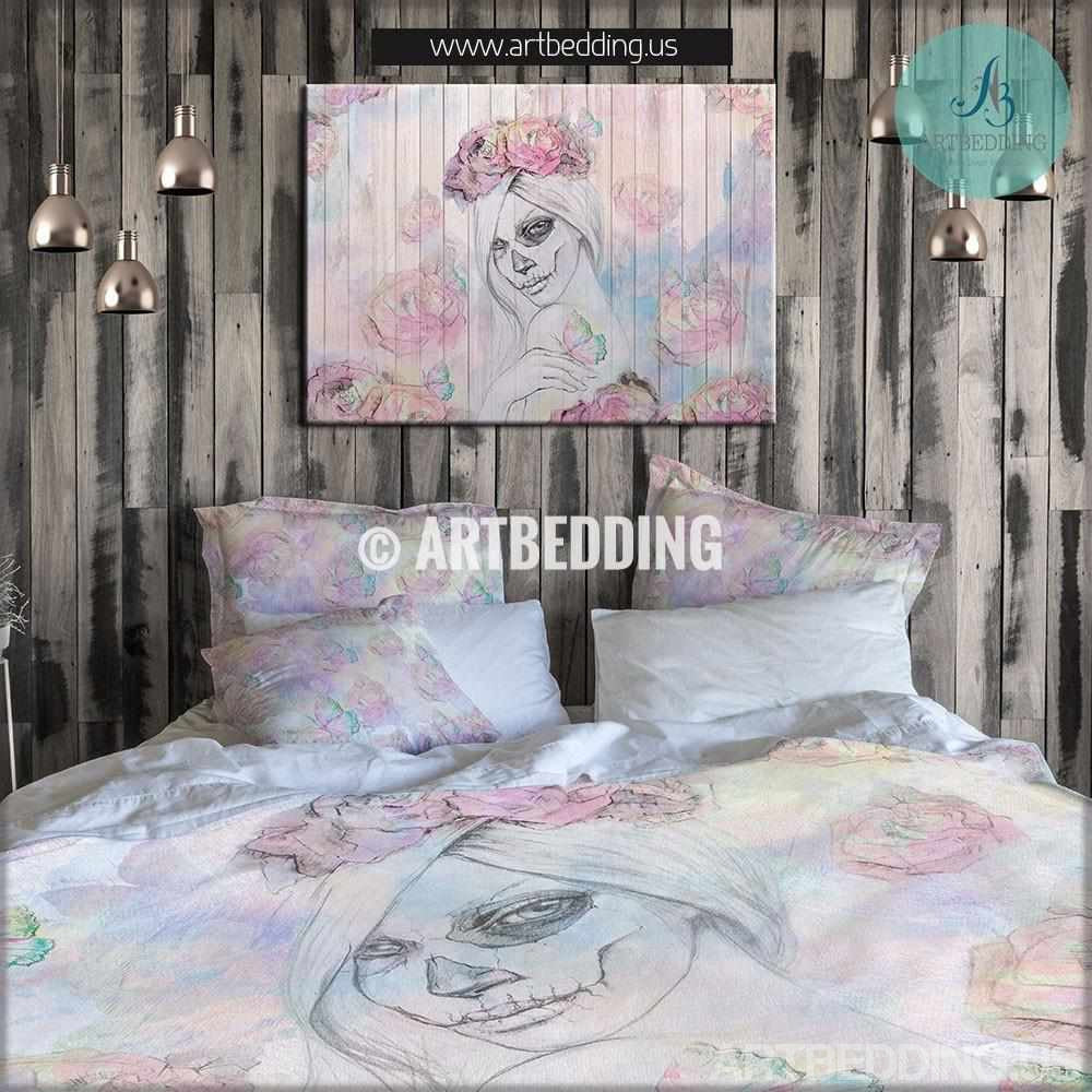 Sugar Skull Girl U0026 Roses Duvet Bedding Set, Bohemian Bedding, Watercolor Sugar  Skull Girl ...