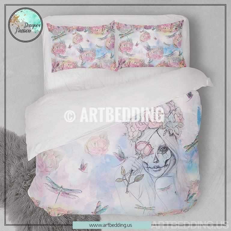 Sugar skull & roses duvet bedding set, Watercolor sugar skull girl & dragonflies duvet set, Bohemian bedding, handpainted art bedding Bedding set