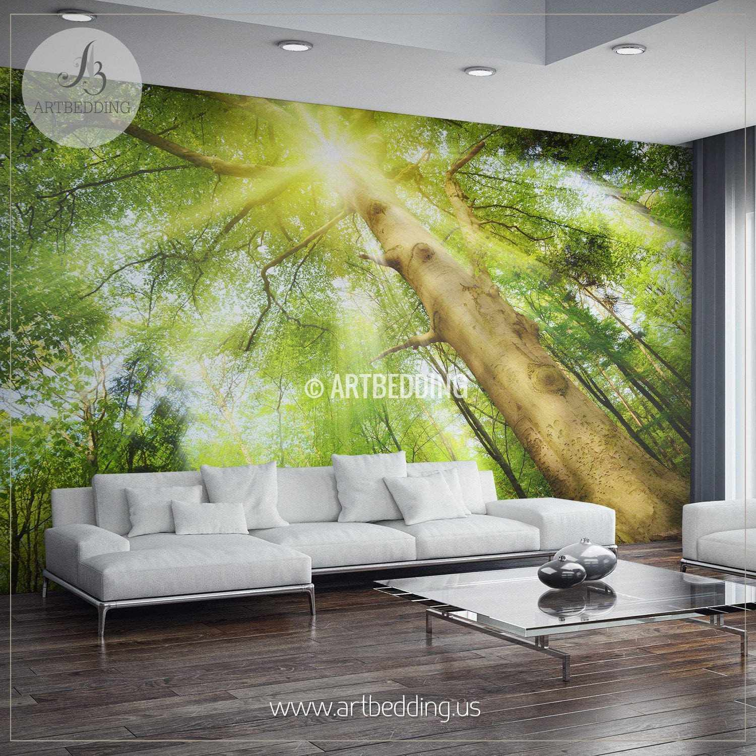 Delightful ... Sun Rays Setting A Magical Mood In Forest Wall Mural, Photo Mural Self  Adhesive ... Part 30