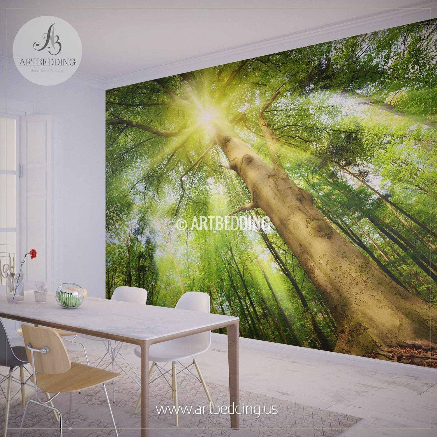 Sun rays setting a Magical Mood in Forest photo wall mural ARTBEDDING