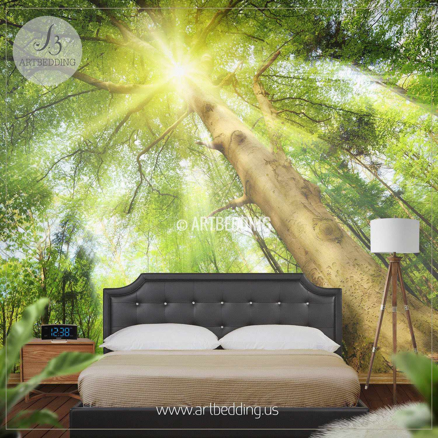 Forest Wall Mural sun-rays setting a magical mood in forest photo wall mural