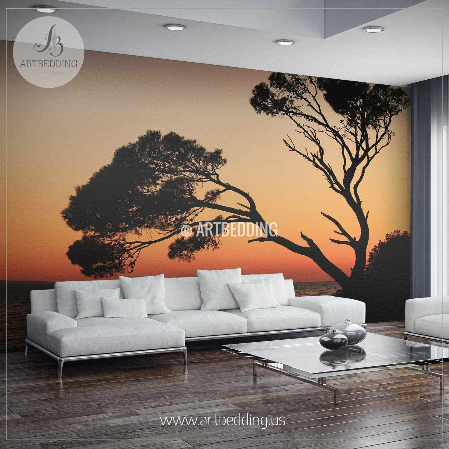 Sunset Tree Silhouettes Self Adhesive Photo Mural