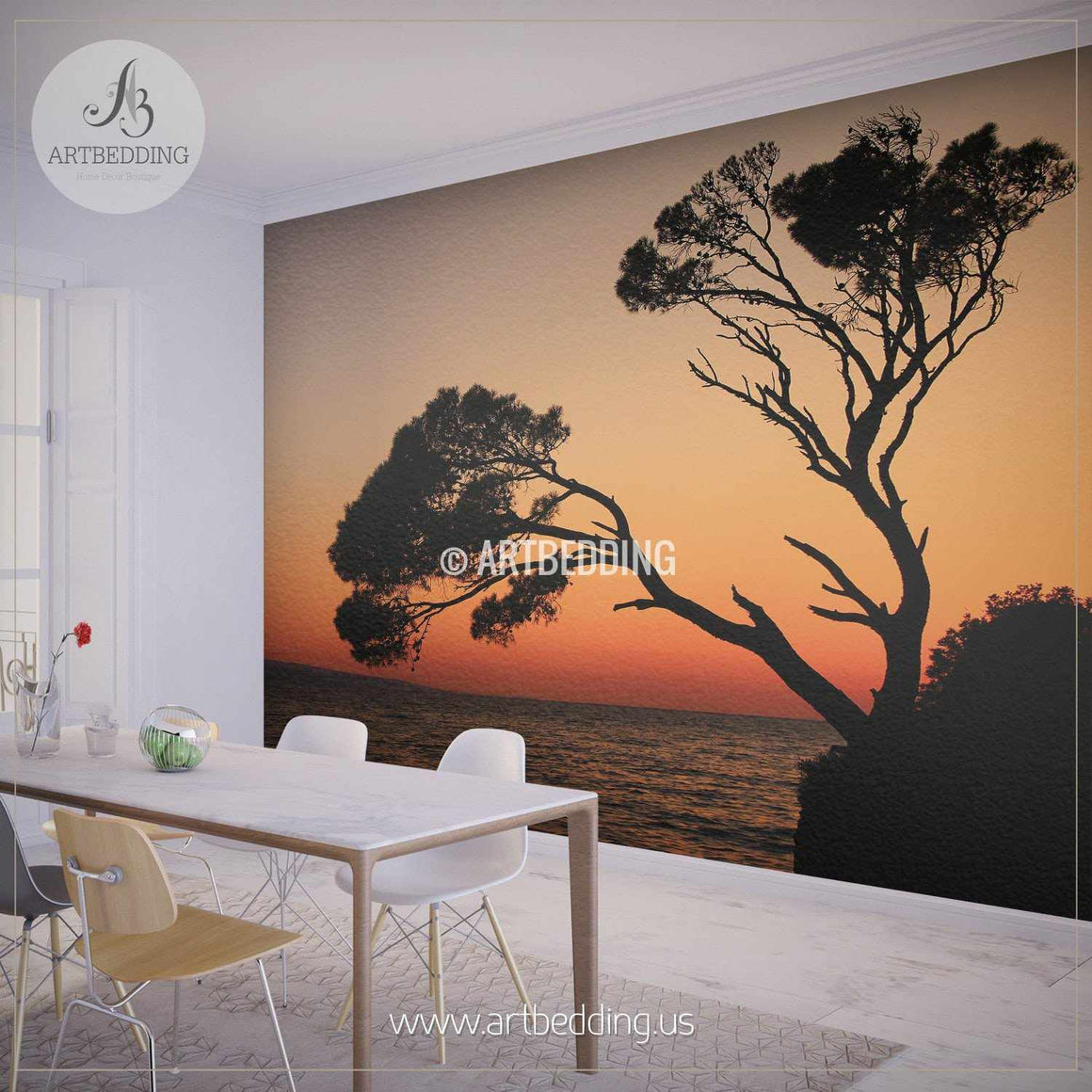 Sunset Tree Silhouettes Wall Mural, Self Adhesive Peel & Stick Photo Mural, Nature photo mural home decor wall mural