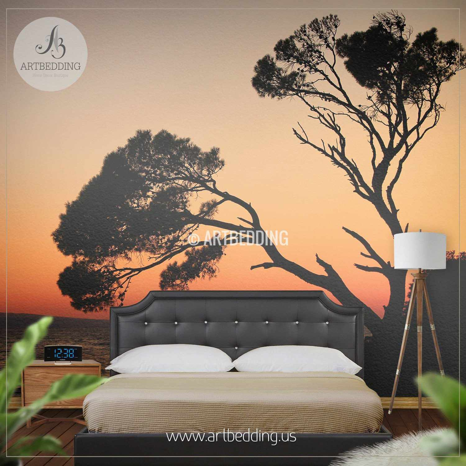 sunset tree silhouettes self adhesive photo mural artbedding sunset tree silhouettes wall mural self adhesive peel stick photo mural nature photo