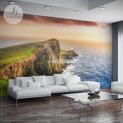 Sunset Wall Mural, Ocean coast Self Adhesive Peel & Stick, Panoramic coast view nature wall mural wall mural