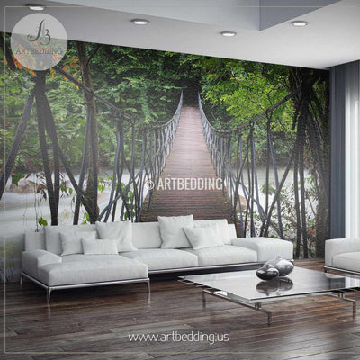 Suspension Bridge Thailand Jungle Wall Mural, Self Adhesive Peel & Stick Photo Mural, Forest wall mural, Photo mural home decor wall mural