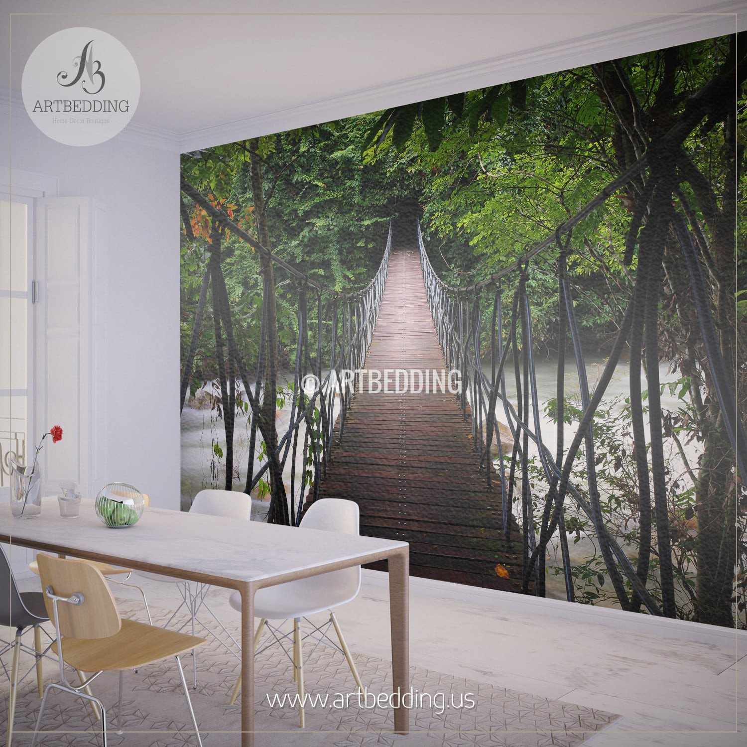 ... Suspension Bridge Thailand Jungle Wall Mural, Self Adhesive Peel U0026  Stick Photo Mural, Forest ...