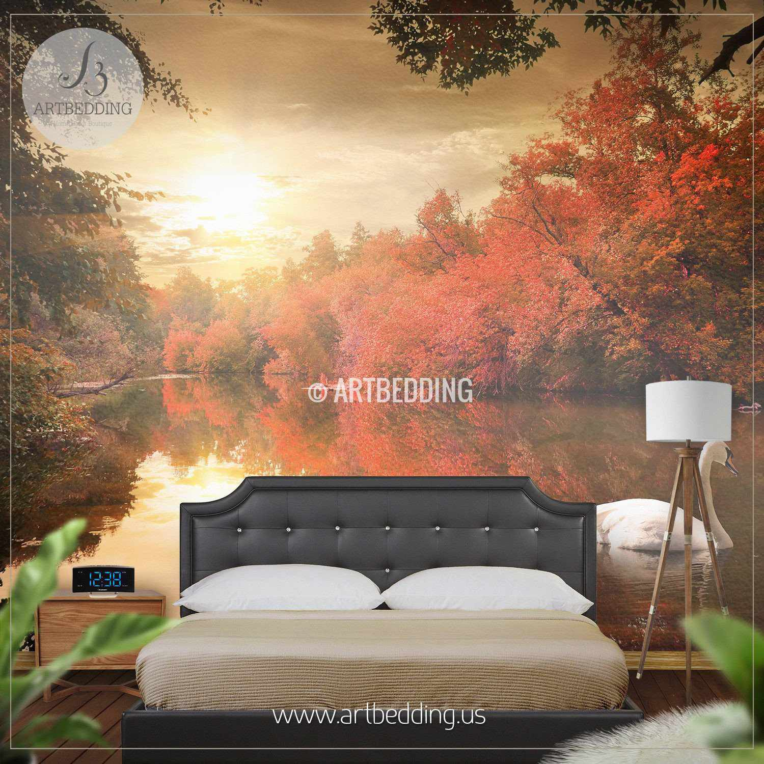 Swan autumn lake self adhesive photo mural artbedding for Autumn wall mural