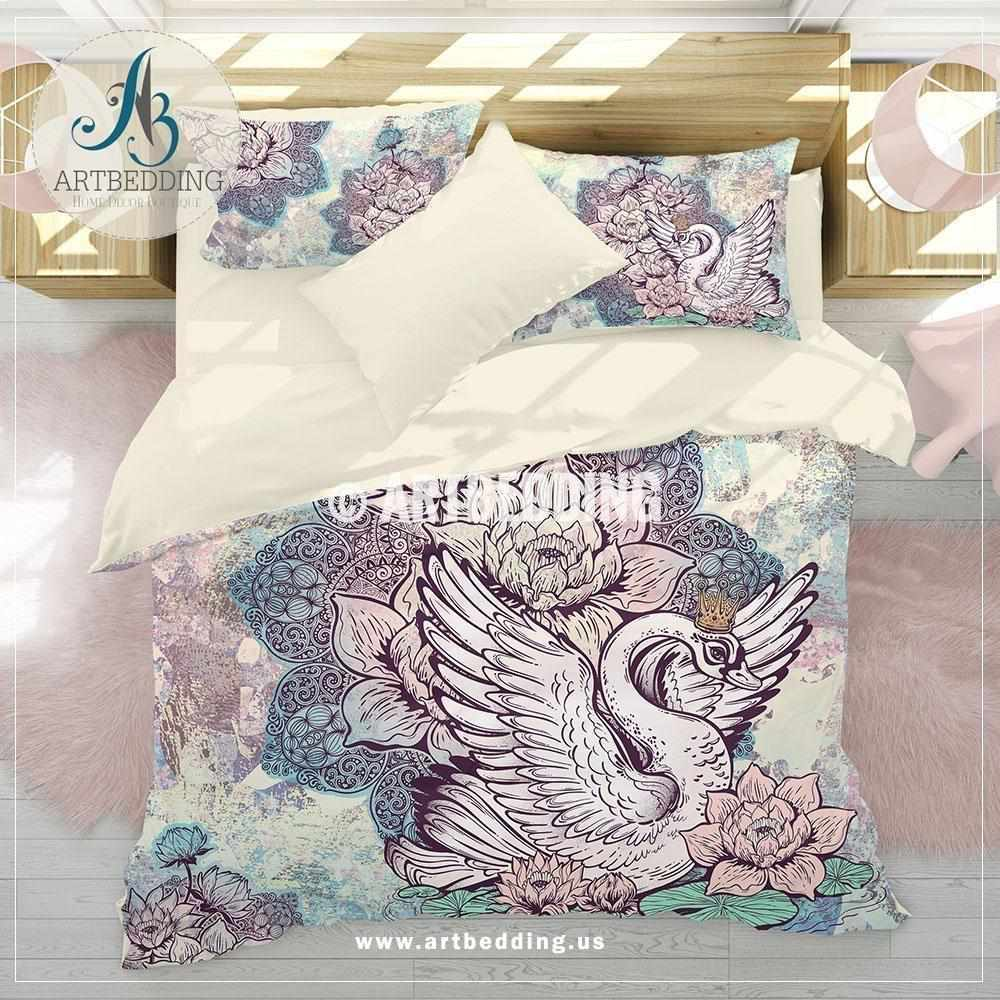 Swan bohemian bedding, Boho unicorn colors lotus mandala duvet cover set, swan lotus comforter set Bedding set