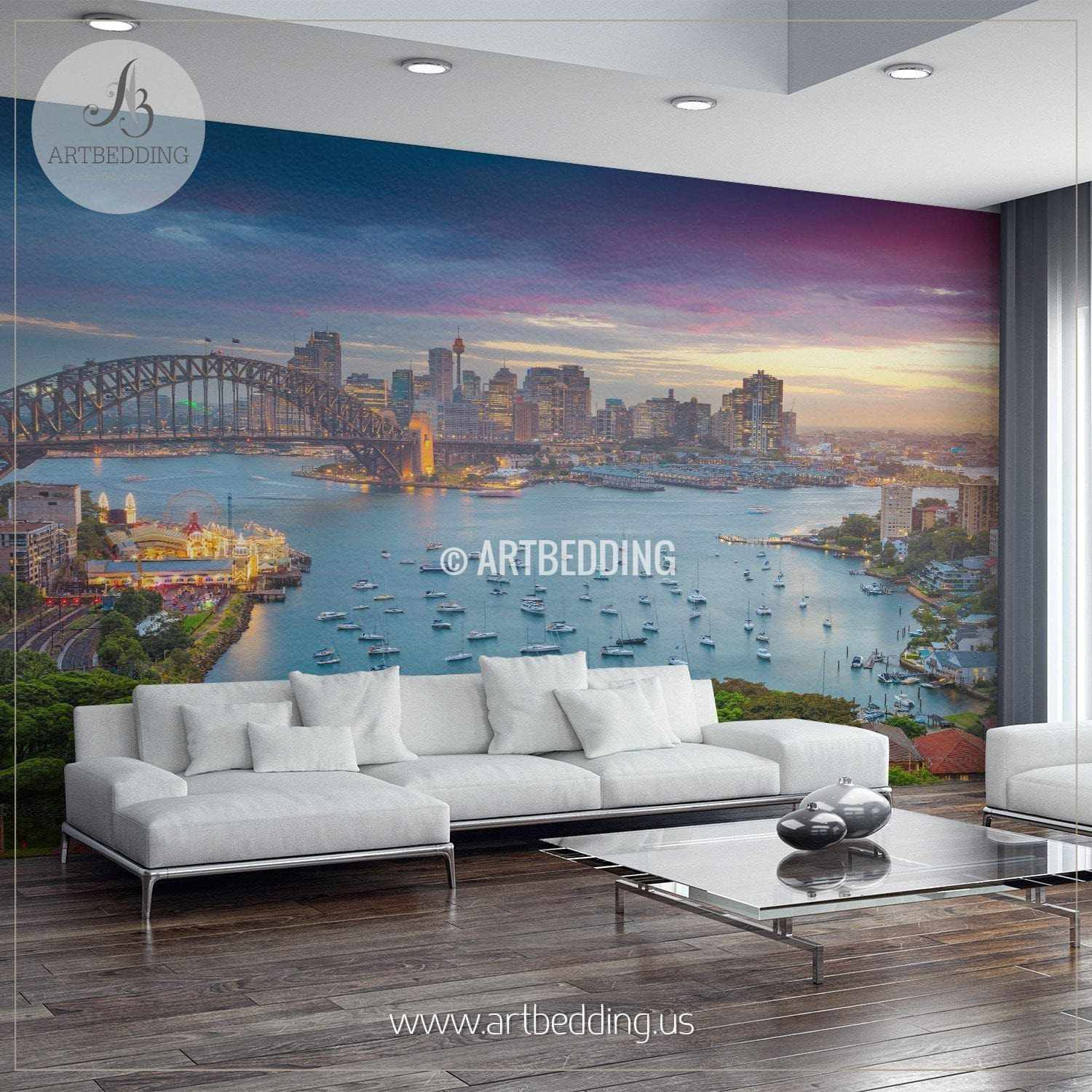 Sydney with harbour bridge and skyline during sunset cityscape wall mural australia photo sticker
