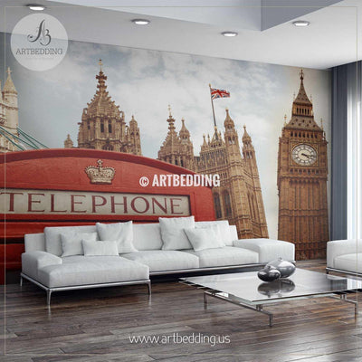 Symbols of London Wall Mural, London City Photo Mural, London wall décor wall mural