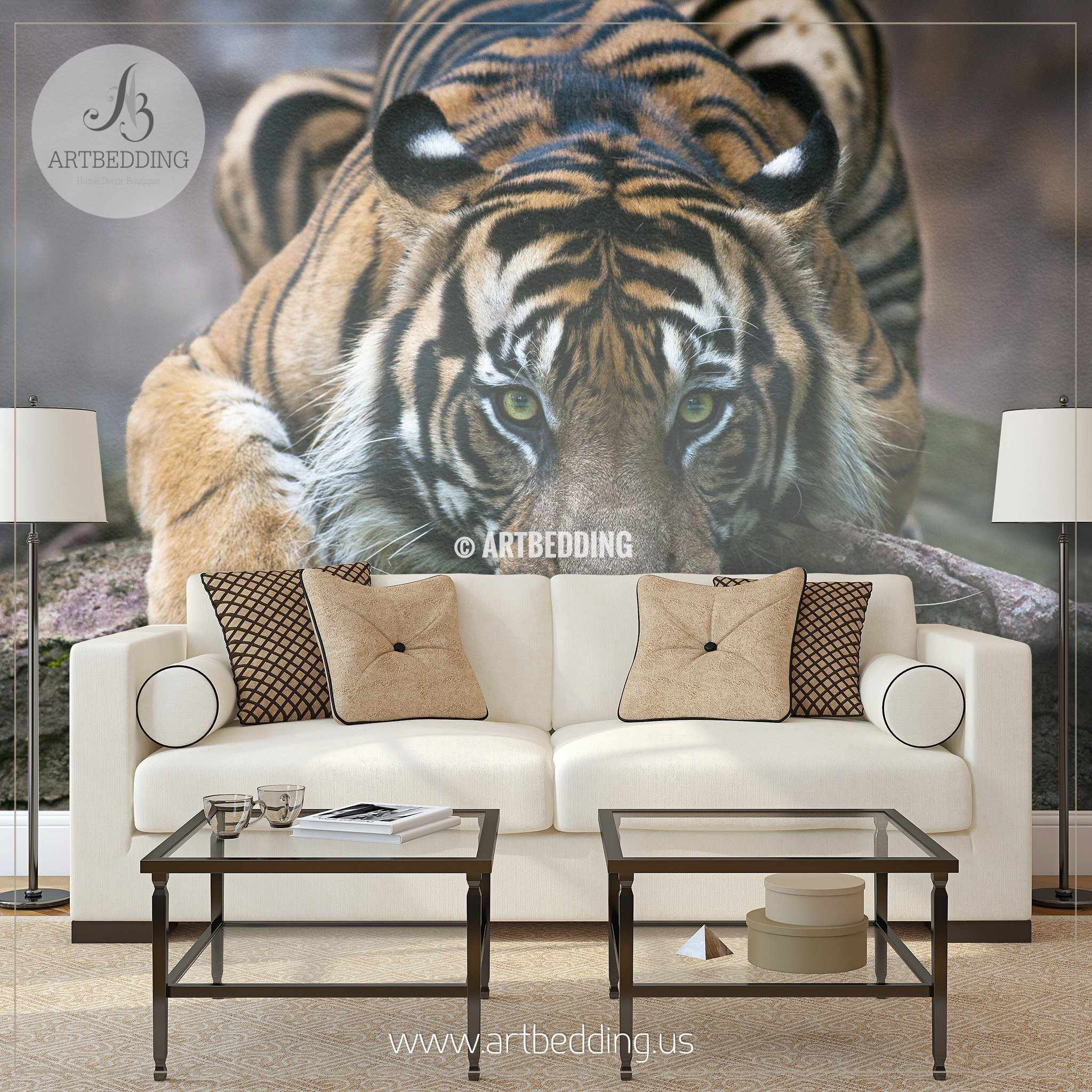 Tiger gaze wall mural tiger self adhesive peel stick for Beautiful wall mural