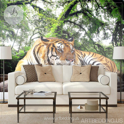 Tiger Wall Mural, Wild tiger Self Adhesive Peel & Stick Photo Mural, African tiger wallpaper wall mural