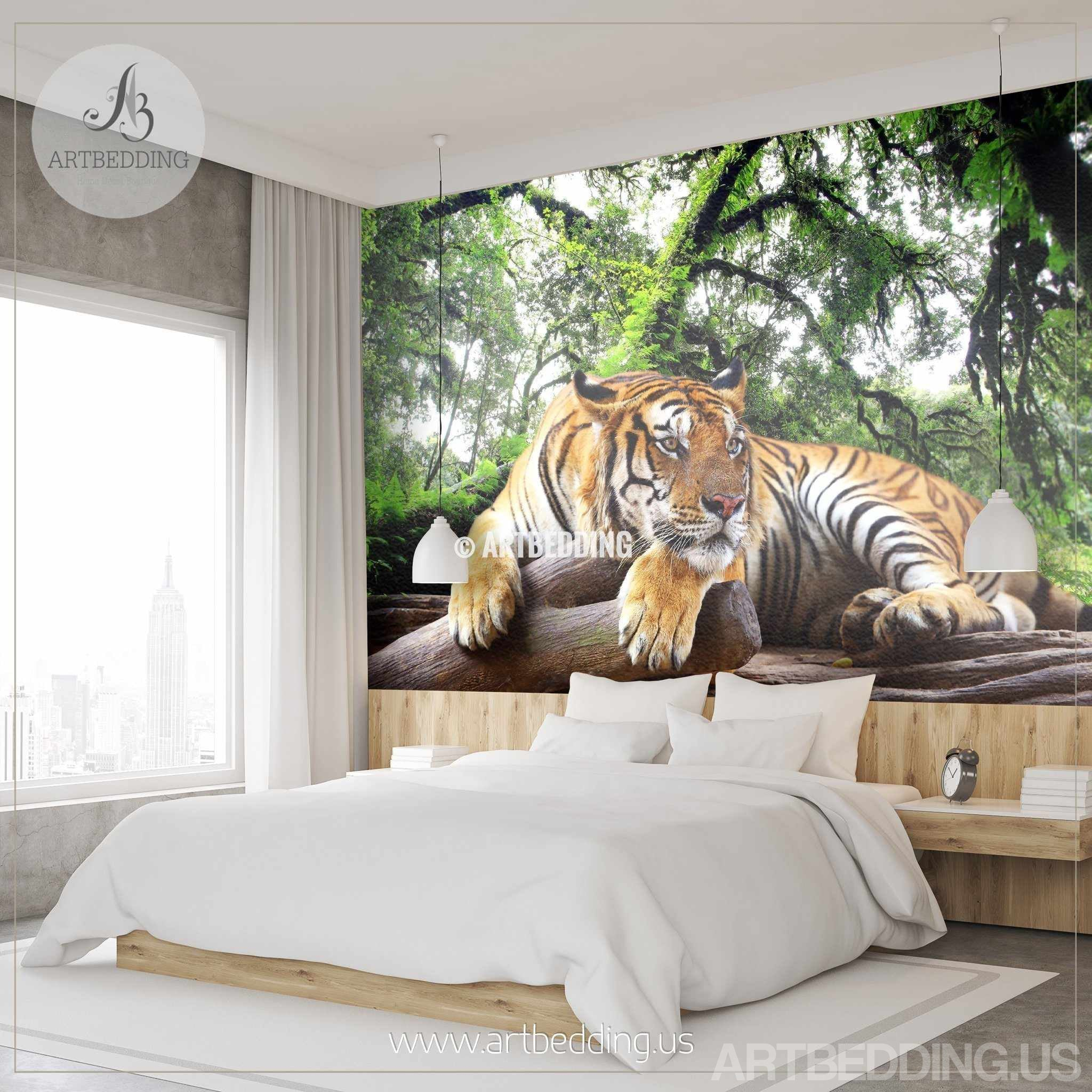 ... Tiger Wall Mural, Wild Tiger Self Adhesive Peel U0026 Stick Photo Mural,  African Tiger ...