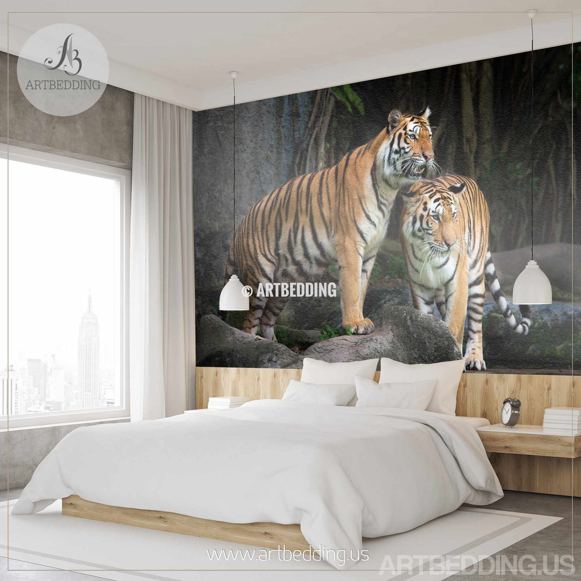 Tigers Wall Mural, Wild tiger Self Adhesive Peel & Stick Photo Mural, African tigers wallpapers wall mural