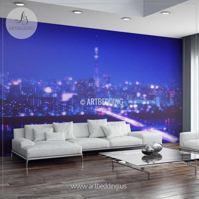 Tokyo Night with Blur Bokeh Lights Cityscape Wall Mural, Tokyo Photo sticker, Japan wall decor wall mural