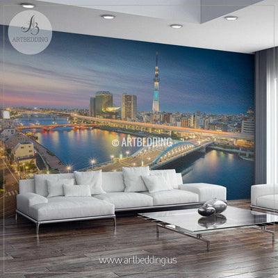 Tokyo Skyline During Twilight Cityscape Wall Mural, Japan Photo sticker, Japan wall decor wall mural