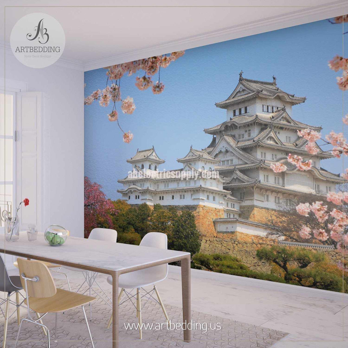 Tower of the UNESCO world heritage site Himeji Castle with Cherry Blossoms Cityscape Wall Mural, Japan Photo sticker, Japan wall decor wall mural