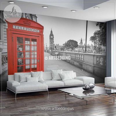 Traditional red phone box in London with the Big Ben in the background Wall Mural, Photo Mural, wall décor wall mural