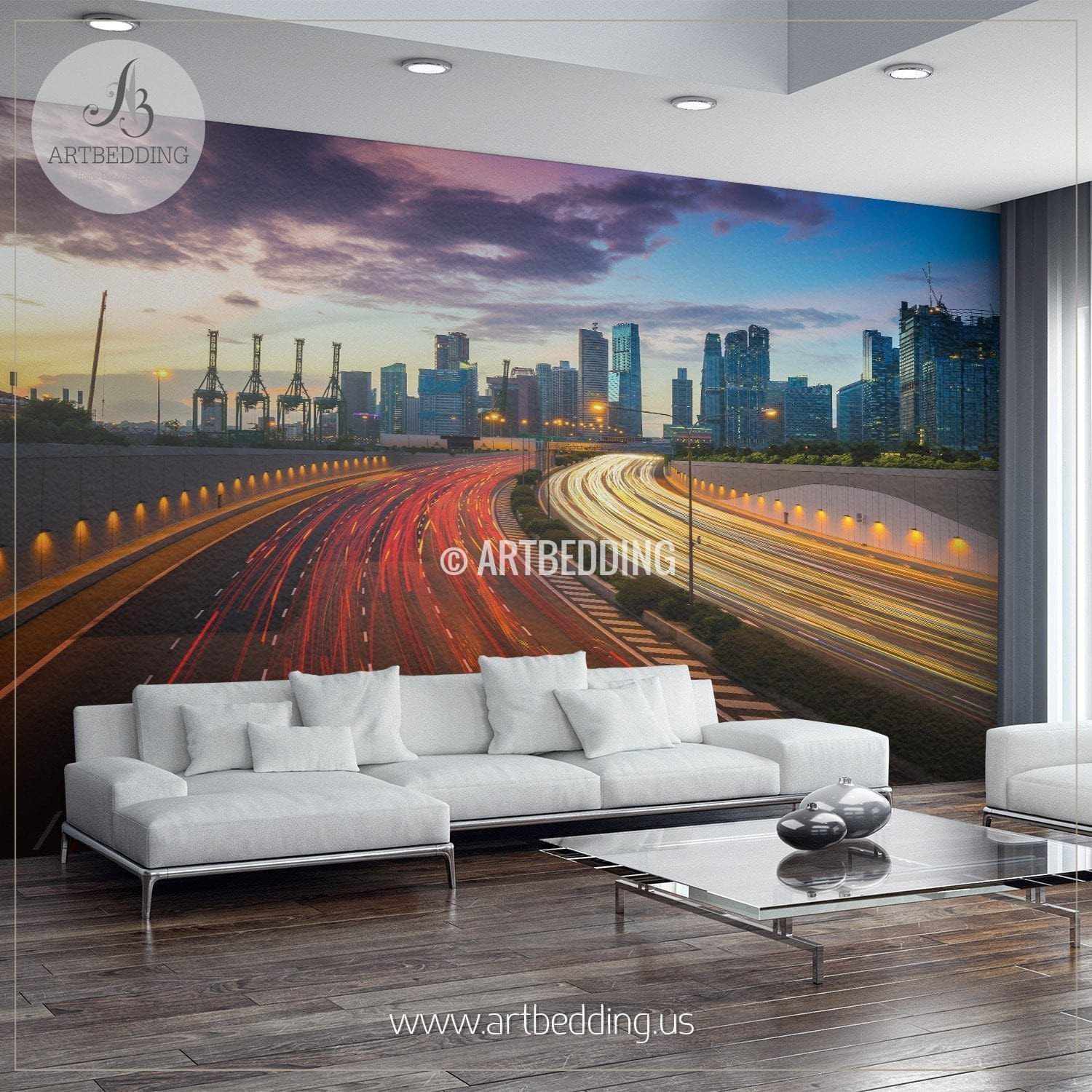 Traffic Through Singapore Cityscape Wall Mural Singapore Photo
