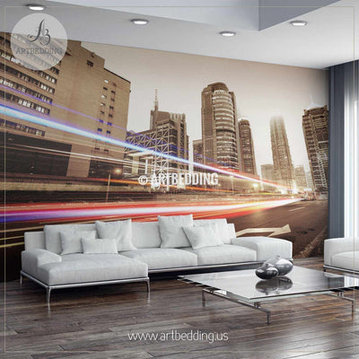 Traffic trails through Shanghai Wall Mural, Landmarks Photo Mural, Cityscape photo mural wall mural